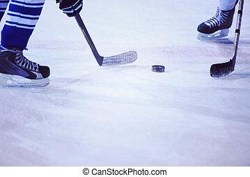 joueurs, sport, hockey, glace