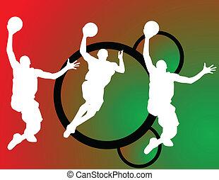 joueurs, vecteur, basket-ball