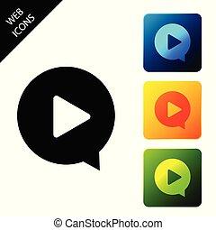 jouez ensemble, coloré, icônes, isolated., illustration, buttons., vecteur, carrée, cercle, icône