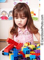 jouez ensemble, room., construction, enfant joue