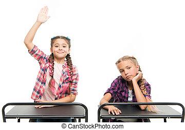 jouir de, élevé, gosses, séance, schooling., isolé, avoir, petit, scolarité, écolières, dos, leur, white., bureaux, mains, compulsory, maison, peu, années, adorable, enfants