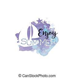 jouir de, été, aquarelle, étiquette, stylisé, message