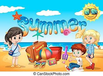 jouir de, été, plage, enfants
