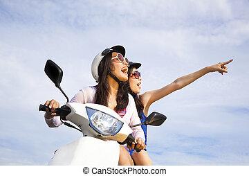 jouir de, été, scooter, filles, vacances, équitation, ...