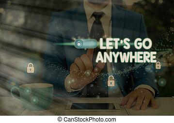 jouir de, étrangers, nouveau, aller, conceptuel, main, rencontrer, photo, texte, endroits, écriture, lets, business, visite, anywhere., relax., projection