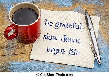 jouir de, être, vie, ralentir, reconnaissant