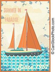 jouir de, accueil, illustration., vendange, soleil, affiche, exotique, vecteur, retro, paradis, design.