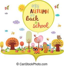 jouir de, automne, école, dos