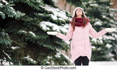 jouir de, beau, froid, winer, neige, temps, dehors, girl, jour, heureux
