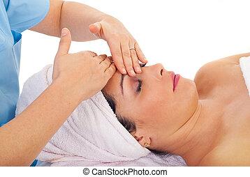 jouir de, beauté, femme, massage facial