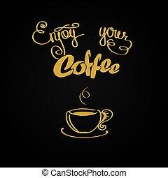 jouir de, café, ton, fond, logo, ou