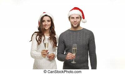 jouir de, champagne, couple, jeune, ensemble, attraction., ralenti, amusement, boire, sentiment, noël, célébrer