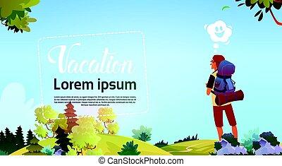 jouir de, concept, randonnée, vue, vacances, automne, randonneur, aventure, voyageur, homme, forêt
