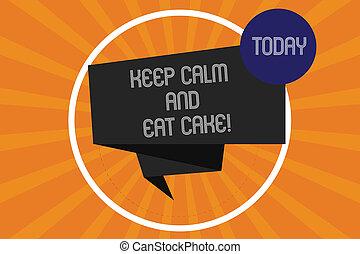 jouir de, concept, texte, photo., bande, ruban, plié, écriture, calme, doux, cercle, sunburst, 3d, manger, business, relâcher, nourriture, dessert, halftone, manger, cake., mot, intérieur, garder, boucle