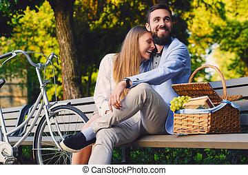 jouir de, couple, park., banc pique-nique