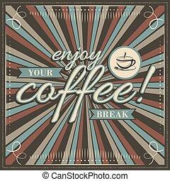 jouir de, décoratif, café, frame., café, vendange, tasse, illustration, coupure, vecteur, ton, ruban