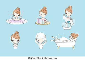 jouir de, femme, dessin animé, jeune, bain