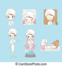 jouir de, femme, dessin animé, masage, jeune