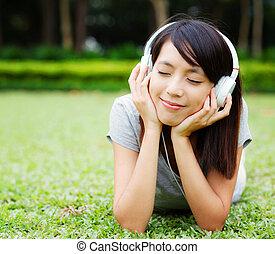 jouir de, femme, musique, asiatique