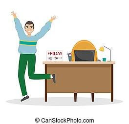 jouir de, fin, fonctionnement, week., bureau., vendredi,...