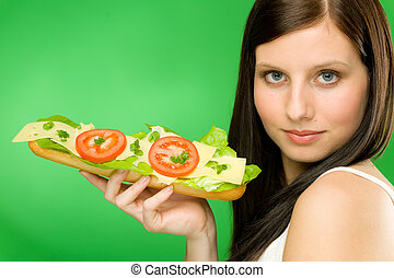 jouir de, fromage, femme, style de vie, sain, -, sandwich