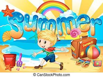 jouir de, garçon, peu, plage, été