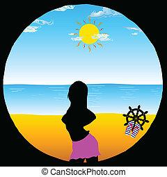 jouir de, illustration, vecteur, girl, plage, dessin animé