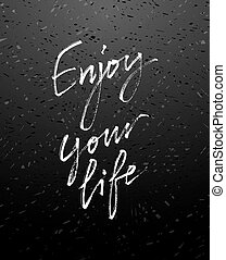 jouir de, life., calligraphie, moderne, ton