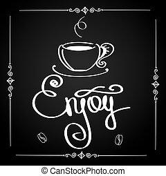 jouir de, logo, ou, fond, café