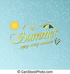 jouir de, parapluie, fond, plage, eau, vecteur, soleil, summer., slippers.