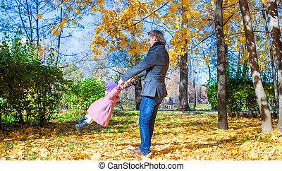 jouir de, peu, parc, père, jeune, vacances, automne, girl