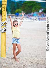 jouir de, peu, sportif, famille, volley-ball plage, jeu,...