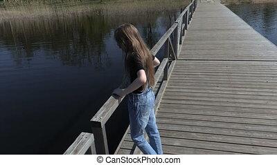 jouir de, pont, peu, nature, girl, flotter