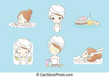 jouir de, spa, femme, dessin animé, jeune