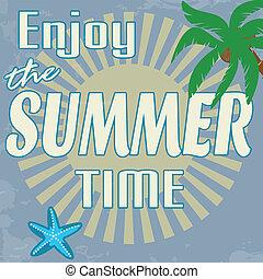 jouir de, temps été, affiche, vendange