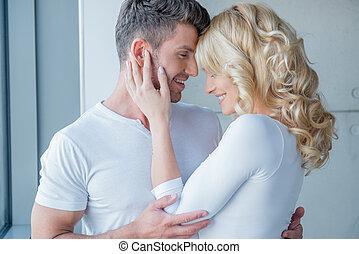 jouir de, tendre, couple, moment, aimer