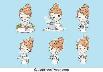 jouir de, thé, femme, dessin animé, jeune