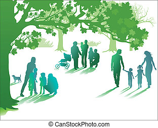 jouir de, vie, famille, ensemble