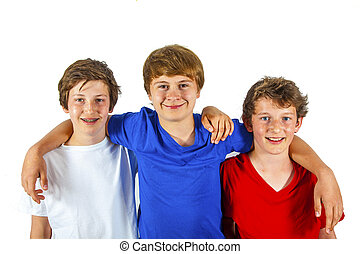 jouir de, vie, trois amis, joyeux, heureux