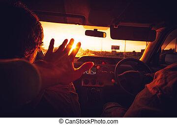 jouir de, voiture, famille, heureux