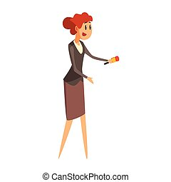 Jounalist Taking Interview, Official Press Reporter Working, Collecting Information And Making News, Part Of Journalism Set Of Illustrations. Cartoon Character Doing Journalistic Job For Magazine Or Television.