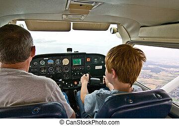 joung, jongen, is, vliegen, vliegtuig, geassisteerd, door,...