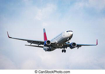 jour, été, passager, time., atterrissage, avion