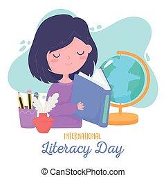 jour, étudiant, international, girl, crayons, tasse, alphabétisation, lecture, livre scolaire, carte