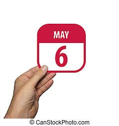 jour, 6th., simple, arrière-plan., toile, mai, 6, ensemble, icône, management., date, main, année, design., temps, prise, mois, printemps, icônes, calendrier, planning., concept, blanc