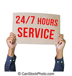 jour, 7, mains, heures, papier, clients, horloge, jours, isolé, homme, autour de, arrière-plan., 24, semaine, ervice, blanc