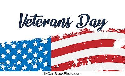jour, affiche, nous, vétérans, aquarelle, drapeau, tapé machine, texte