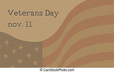 jour, affiche, nous, vétérans, drapeau, tapé machine, célébration, texte