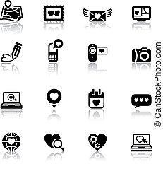 jour, amour, ensemble, valentine, icônes