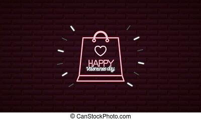 jour, animé, néon, valentines, sac, achats, étiquette